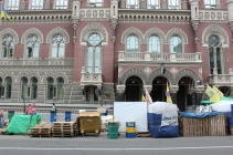 Protest camps in front of the National Bank